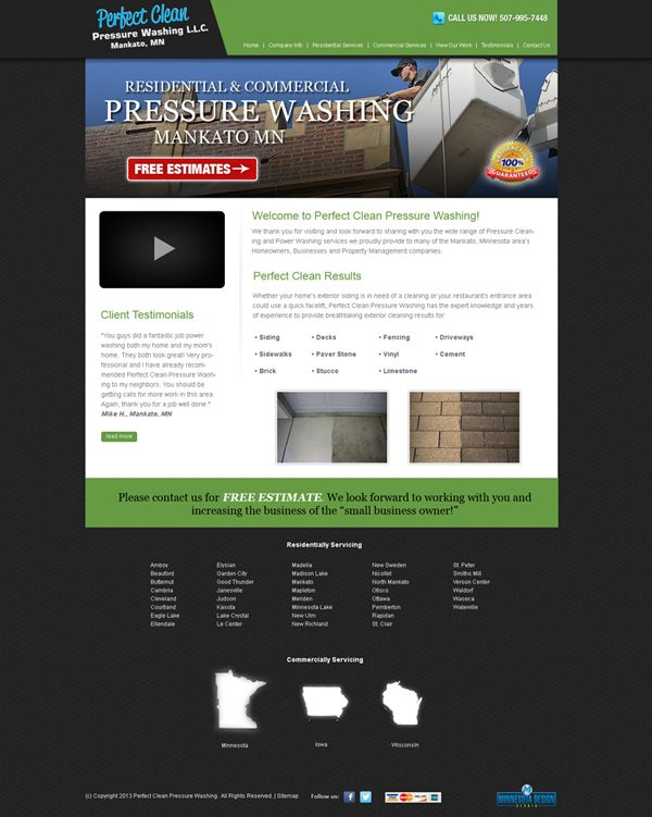 Custom Website Design For Pefect Clean Pressure Washing