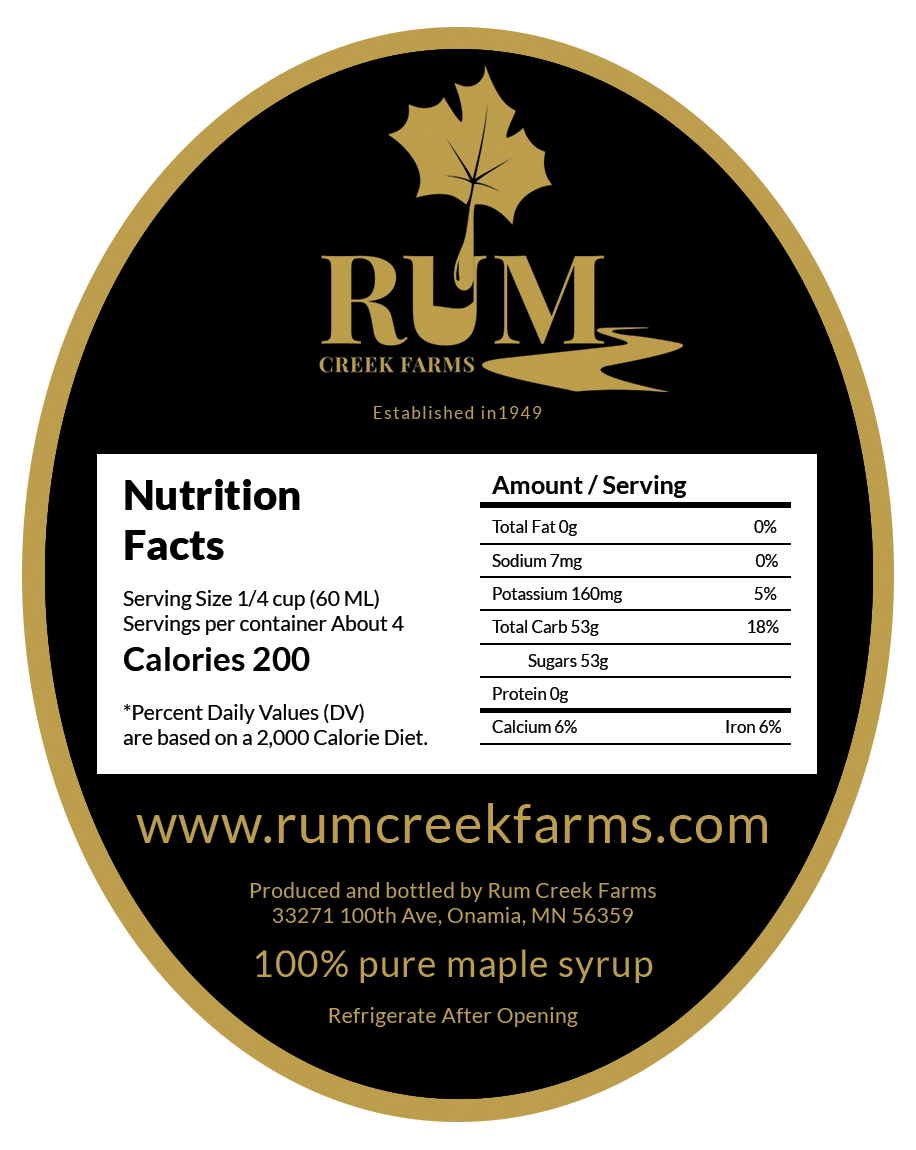Rum Creek Farms - Back Label