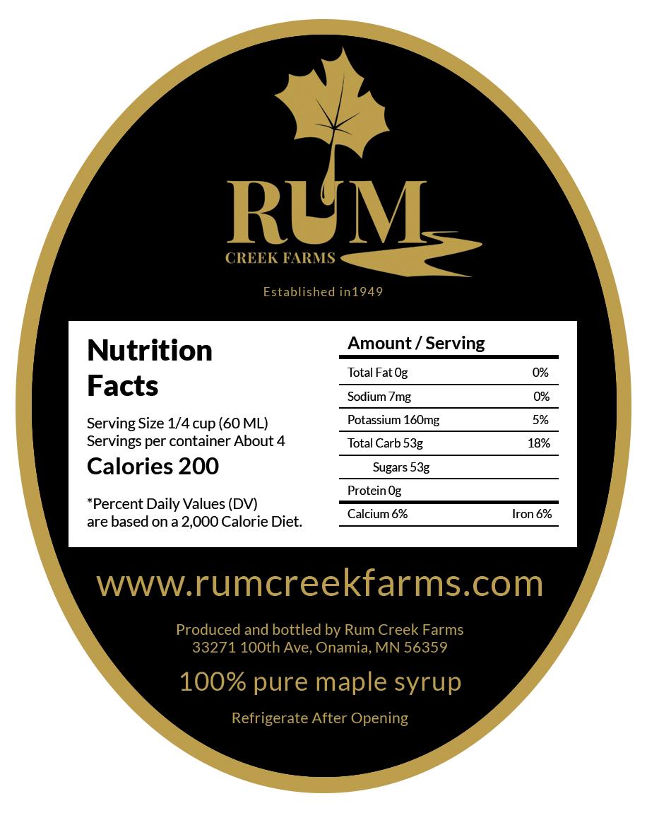 Rum Creek Farms - Back Label